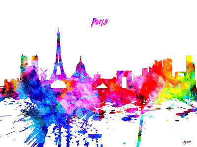 Paris Skyline Royalty-Free and Rights-Managed Images - Paris Colorful Skyline by Daniel Janda