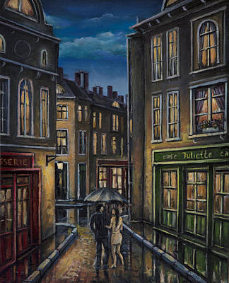 Painting - Paris Couple At Night Street Scene by Radoslav Nedelchev