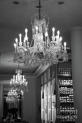 Photograph - Paris Crystal Chandelier - Black White Paris Repetto Ballet Shop Chandelier Print Home Decor by Kathy Fornal