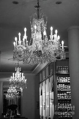 Photograph - Paris Crystal Chandelier - Black White Paris Repetto Ballet Shop Chandelier Print Home Decor by Kathy Fornal