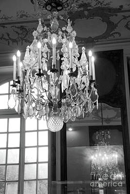 Photograph - Paris Crystal Chandelier - Opulent Paris Rodin Museum Crystal Chandelier - Chandelier Decor by Kathy Fornal