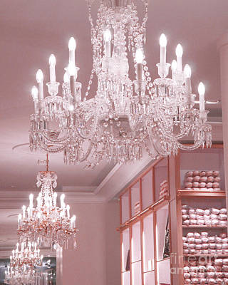Paris Crystal Chandelier Pink Sparkling Chandelier - Repetto Ballet Shop Pink Crystal Chandelier Art Print by Kathy Fornal
