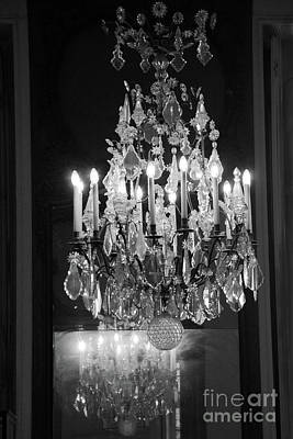 Photograph - Paris Crystal Chandelier Rodin Museum - Paris Black White Crystal Chandelier Wall Decor  by Kathy Fornal