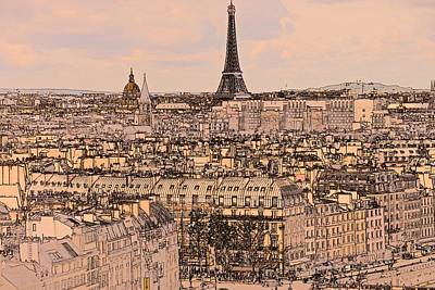 Paris Skyline Royalty-Free and Rights-Managed Images - Paris  CS by Lenore Holt-Darcy
