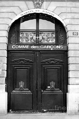 Paris Doors - Black And White French Door - Paris Black And White Doors Decor Art Print by Kathy Fornal