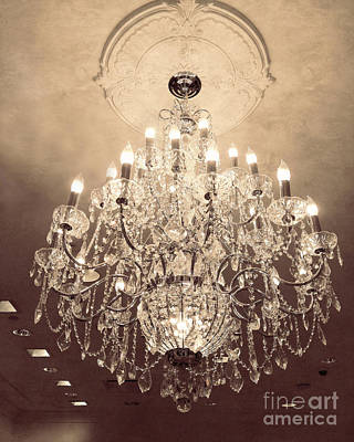 Photograph - Paris Dreamy Golden Sepia Sparkling Elegant Opulent Chandelier Fine Art by Kathy Fornal