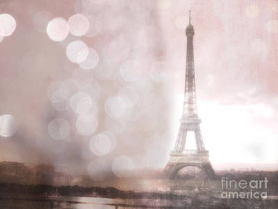 Photograph - Paris Dreamy Romantic Eiffel Tower Sepia Morning Bokeh Lights by Kathy Fornal