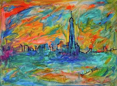 Paris Skyline Paintings - Paris Edge by Kendall Kessler