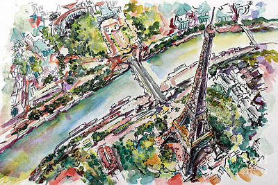 Painting - Paris Eiffel Tower Aerial View by Ginette Callaway