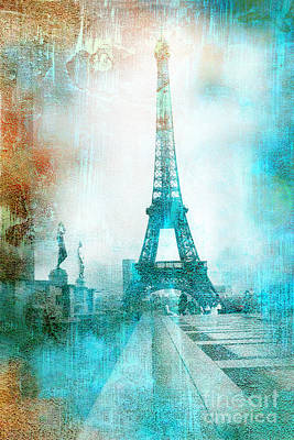 Mixed-media Photograph - Paris Eiffel Tower Aqua Impressionistic Abstract by Kathy Fornal