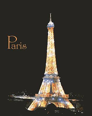 Digital Art - Paris Eiffel Tower Skyline by Inge Lewis