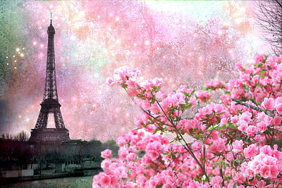 Paris Eiffel Tower Cherry Blossoms - Paris Spring Eiffel Tower Pink Blossoms  Art Print by Kathy Fornal