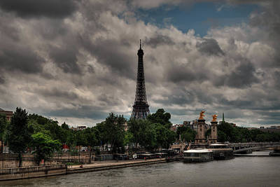 Photograph - Paris - Eiffel Tower From The Seine 001 by Lance Vaughn