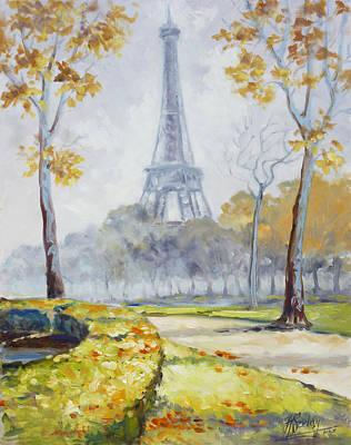 Paris Painting - Paris Eiffel Tower From Trocadero Park by Irek Szelag