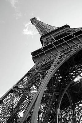 Photograph - Paris Eiffel Tower Iron Structure Architecture - Eiffel Tower Black And White Decor by Kathy Fornal