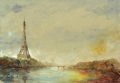 Paris Eiffel Tower Painting Print by Juan  Bosco