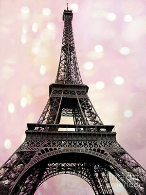 Photograph - Paris Eiffel Tower Pink Fantasy Baby Girl Nursery Decor Prints Wall Art Baby Girl Room Paris Decor by Kathy Fornal