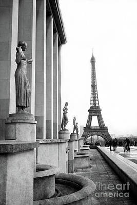 Photograph - Paris Eiffel Tower Trocadero Gilded Statues Black And White Print - Paris Eiffel Tower Home Decor  by Kathy Fornal