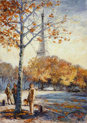 Eiffel Tower Painting - Paris Fall In Trocadero Park by Irek Szelag
