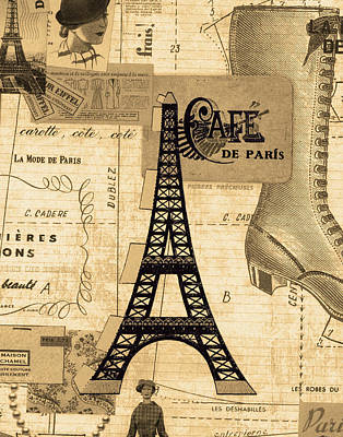 Eiffel Tower Mixed Media - Paris Fashion Cafe by Marilu Windvand