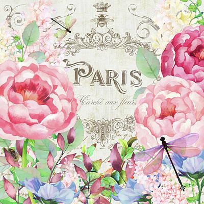 Bumble Digital Art - Paris Flower Market I Roses, Flowers, Floral Dragonflies by Tina Lavoie