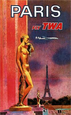 Royalty-Free and Rights-Managed Images - Paris Fly TWA - Trans World Airlines - Eiffel Tower - Retro travel Poster - Vintage Poster by Studio Grafiikka