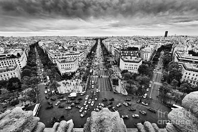 Aerial Photograph - Paris, France Busy Streets, Avenue Des Champs-elysees. Black And White by Michal Bednarek