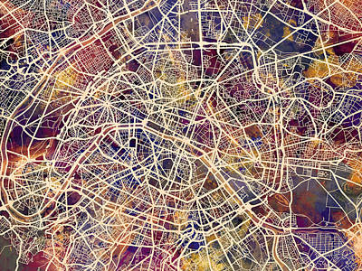 French Map Digital Art - Paris France City Street Map by Michael Tompsett