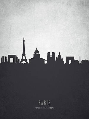 Paris Skyline Painting - Paris France Cityscape 19 by Aged Pixel
