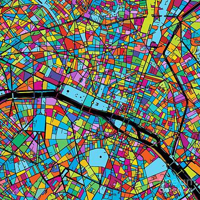 Paris, France, Colorful Map Original