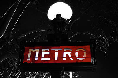 Photograph - Paris France Metro Subway Sign Illuminated At Night Color Splash Black And White by Shawn O'Brien