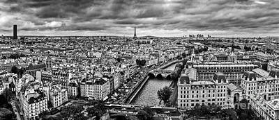 Photograph - Paris, France Panorama With Eiffel Tower, Seine River And Bridges. Black And White by Michal Bednarek