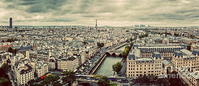 Photograph - Paris, France Panorama With Eiffel Tower, Seine River And Bridges. Vintage by Michal Bednarek