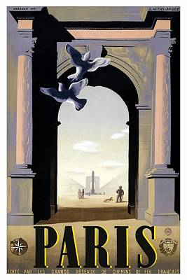 Royalty-Free and Rights-Managed Images - Paris, France - Place de la Concorde and the Arc de Triomphe - Retro travel Poster - Vintage Poster by Studio Grafiikka