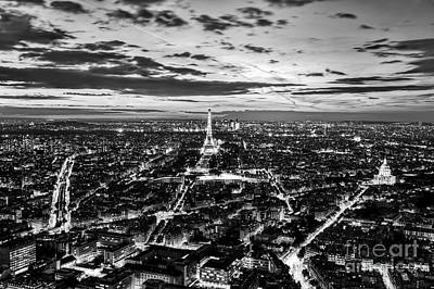 Photograph - Paris, France Romantic Skyline, Panorama. Eiffel Tower, Black And White by Michal Bednarek