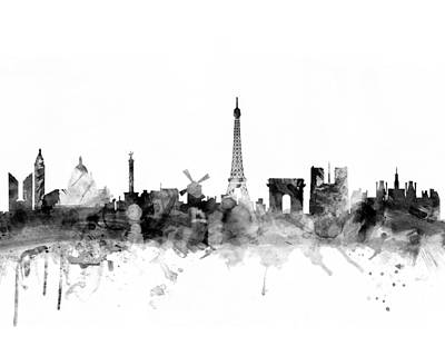 Digital Art - Paris France Skyline 4x5 Ratio by Michael Tompsett