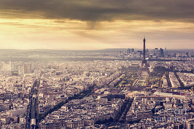 Photograph - Paris, France Skyline At Sunset. Eiffel Tower In Romantic Golden Light by Michal Bednarek