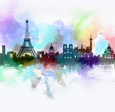 Eiffel Tower Painting - Paris France Skyline  by Enki Art