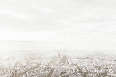 Photograph - Paris, France Skyline In Misty Fog. Eiffel Tower Foggy, Unique View. by Michal Bednarek