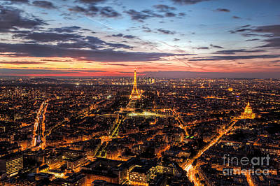 Paris Skyline Photograph - Paris, France Skyline, Panorama At Sunset, Young Night. Eiffel Tower by Michal Bednarek