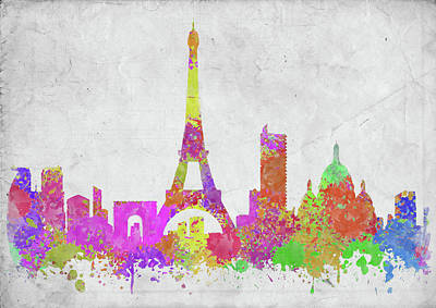 Paris Skyline Royalty-Free and Rights-Managed Images - Paris France Skyline by Ricky Barnard