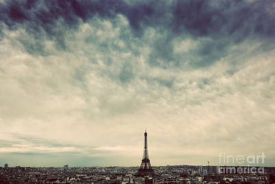 French Photograph - Paris, France Skyline With Eiffel Tower. Dark Clouds, Vintage by Michal Bednarek
