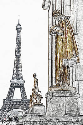 Digital Art - Paris France Trocadero Gold Statues And Eiffel Tower Parisian Cityscape Colored Pencil Digital Art by Shawn O'Brien