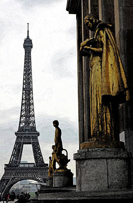 Digital Art - Paris France Trocadero Gold Statues And Eiffel Tower Parisian Cityscape Fresco Digital Art by Shawn O'Brien