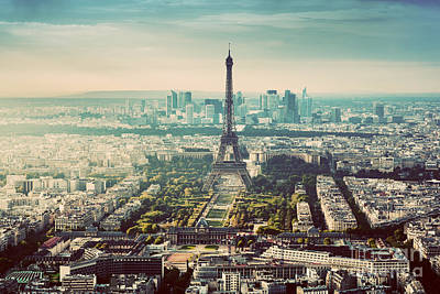 Photograph - Paris, France Vintage Skyline, Panorama. Eiffel Tower, Champ De Mars by Michal Bednarek