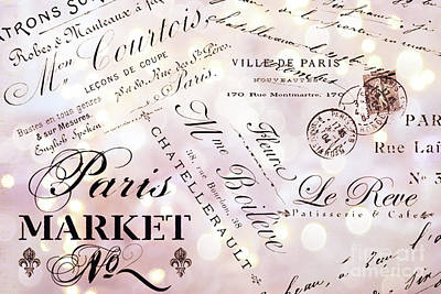 Photograph - Paris French Script Wall Decor - French Script Letters Typography - Paris French Script Wall Decor by Kathy Fornal