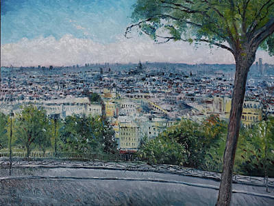 Painting - Paris From The Sacre Coeur Montmartre France 2016 by Enver Larney