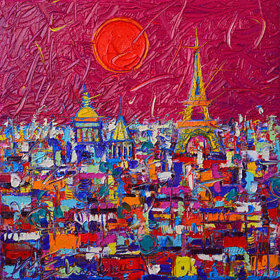 Painting - Paris Full Moon Abstract Cityscape Impasto Modern Impressionist Palette Knife Oil Ana Maria Edulescu by Ana Maria Edulescu