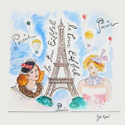 Eiffel Tower Drawing - Paris Girls by John Keaton