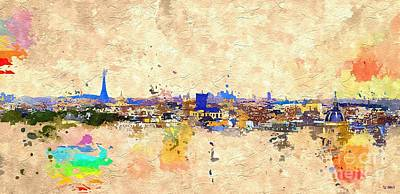 Paris Skyline Royalty-Free and Rights-Managed Images - Paris Grunge Skyline by Daniel Janda
